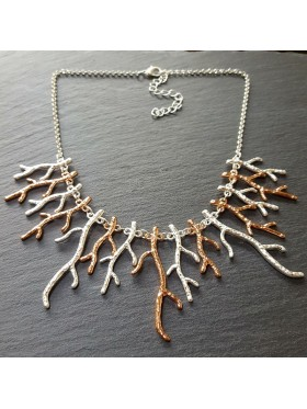 Silver-Rose Coral Necklace