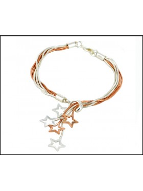 Silver and Rose Gold  Star charm Bracelet