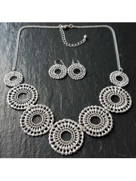 Silver single circle crochet set