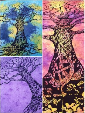 LARGE-Tree-of-Life-Wall Hanging-Tapestry-Throw-Bed Sheet-Fair-Trade-100%-cotton-Tapestries-Tie-Dye