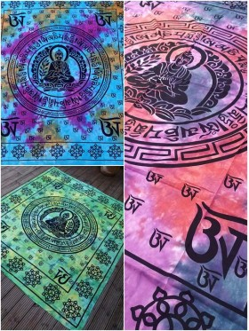 LARGE-Tibet-Buddha-Wall Hanging-Tapestry-Throw-Bed Sheet-Fair-Trade-100%-cotton-Tapestries-Tie-Dye