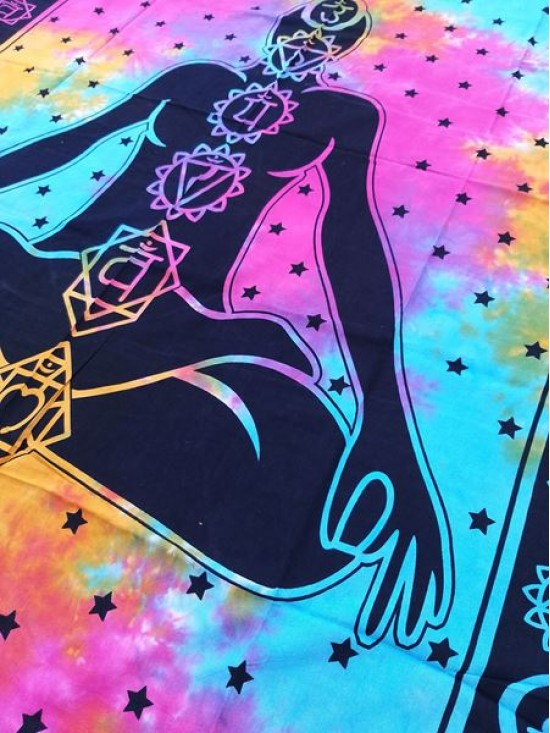 7 Chakras-Wall Hanging-Tapestry-Throw-Bed Sheet-Fair Trade-100% cotton-Tapestries-Tie Dye