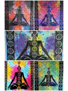 7-Chakras-Chakra-Wall Hanging-Tapestry-Throw-Bed Sheet-Fair Trade-100% cotton-Tapestries-Tie Dye