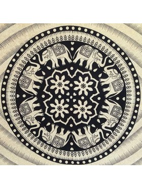 Elephant-Black-Cream-Tiger-Mandala-Wall Hanging-Tapestry-Throw-Bed sheet-100% Cotton-Fair Trade