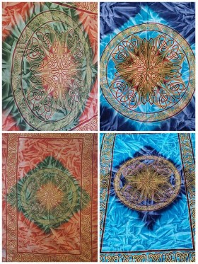 Celtic-Tie-Dye-Mandala-Tapestry-Wall Hanging-Throw-Bed Sheet-Fair-Trade-100%-cotton-Tapestries