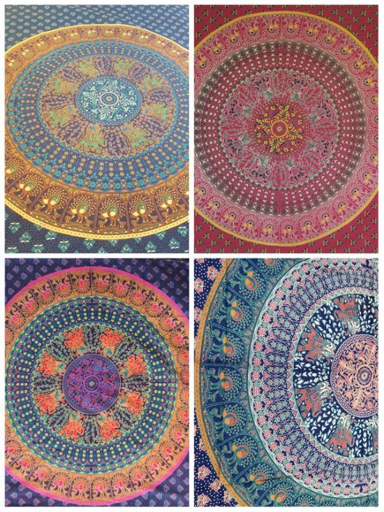 Mandala-Elephant-Peacock-Wall Hanging-Throw-Tapestry-Bed Sheet-Fair Trade-100% cotton-Tapestries
