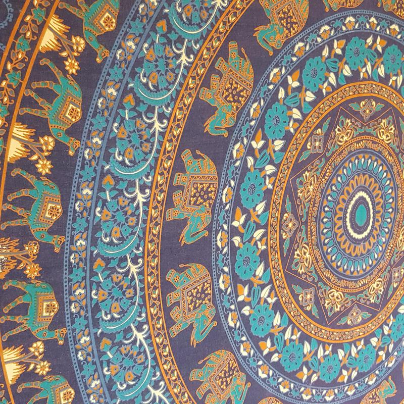 Navy Blue/Turquoise - Elephant Camel - Wall Hanging /Tapestry / Throw / Bed sheet