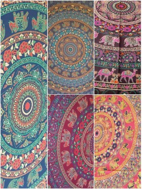 Elephant-Camel-Mandala-Wall Hanging-Throw-Tapestry-Bed Sheet-100% cotton-Fair Trade-Tapestries-India