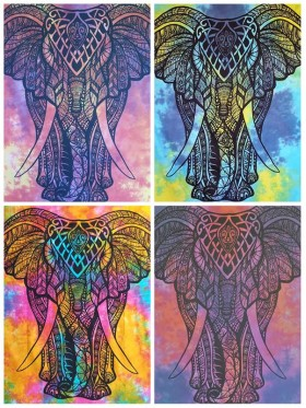Elephant-Tie Dye-100%-Cotton-Wall Hanging-Tapestry-Throw-Bed Sheet