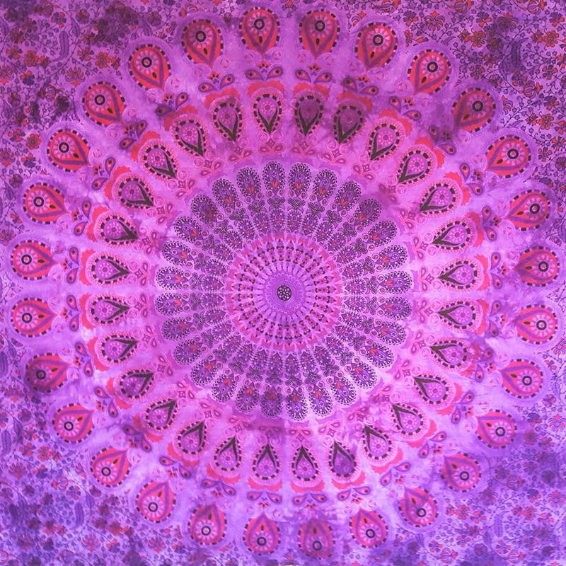 Purple S/W- Peacock Mandala - Wall Hanging / Tapestry / Throw / Bed sheet