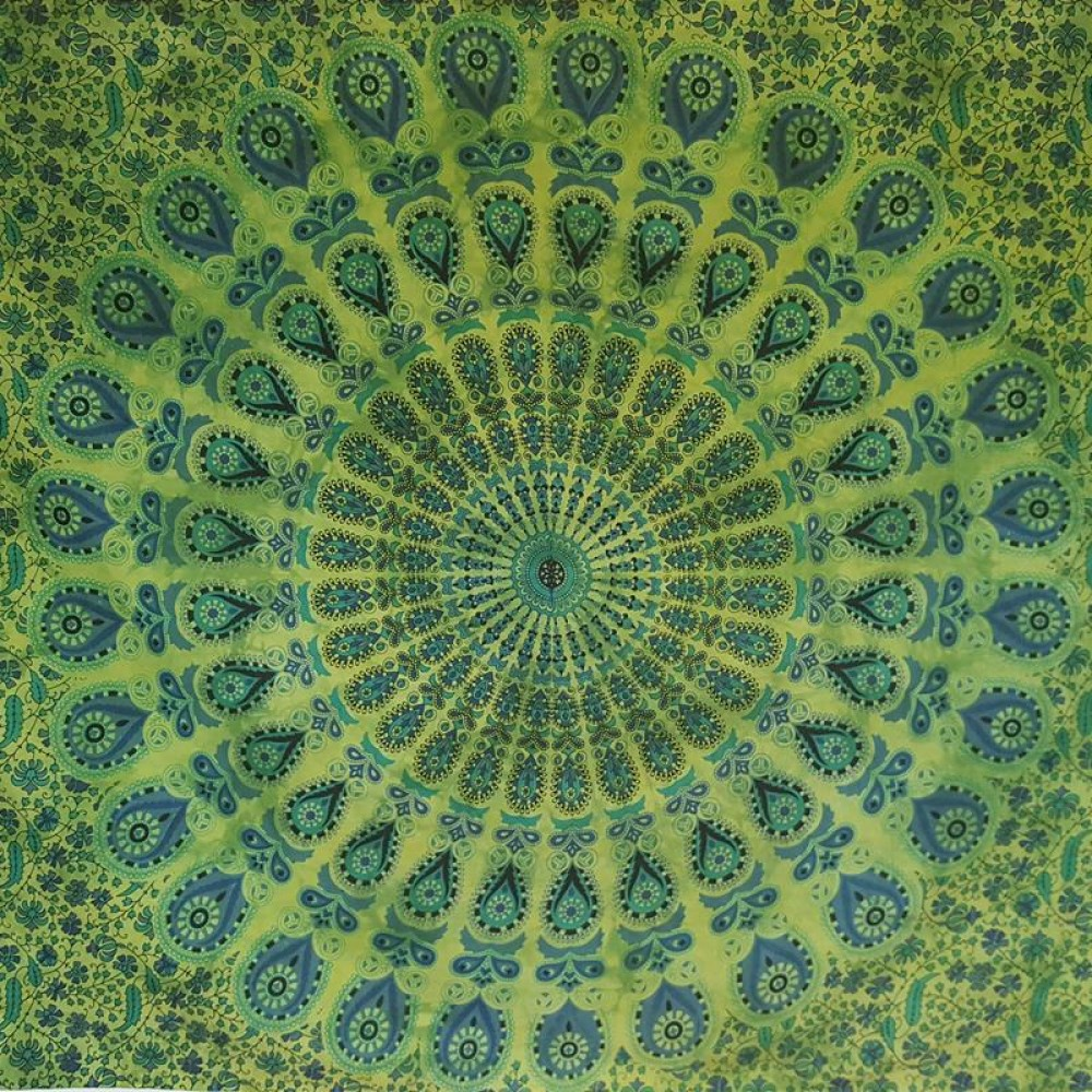 Green bed sheets texture - Green Peacock Mandala Wall Hanging Tapestry Throw Bed Sheet