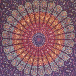 Maroon - Peacock Mandala - Wall Hanging/Throw/Tapestry/Bed Sheet