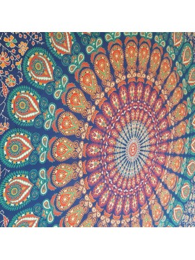 Mandala-Peacock-Wall Hanging-Throw-Tapestry-Bed Sheet-100% cotton-Fair Trade-Tapestries-India