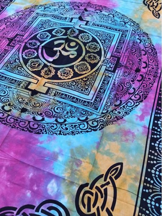 Om-Mandala-Wall Hanging-Tapestry-Throw-Bed Sheet-Fair Trade-100% cotton-Tapestries-Tie Dye