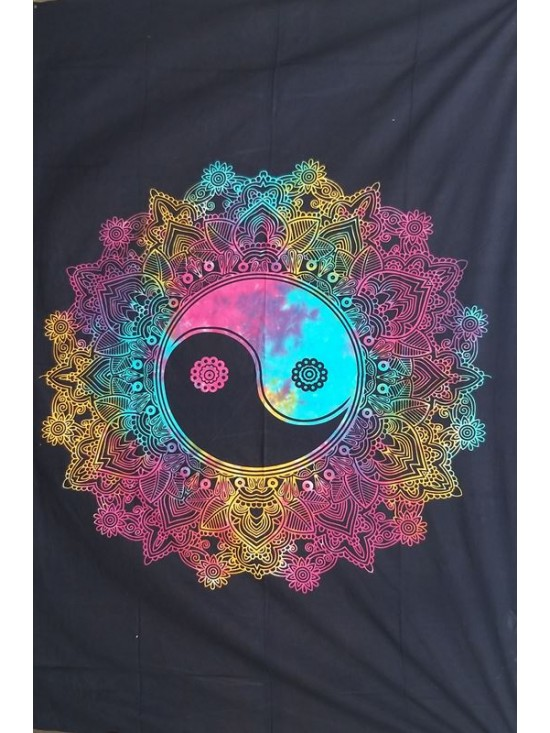 Ying Yang-Wall Hanging-Tapestry-Throw-Bed Sheet-100% Cotton-Tie Dye-Fair Trade