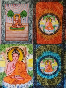 Buddha-Harmony-Wall Hanging-Tapestry-Throw-Bed Sheet-100% Cotton-Tie Dye-Fair Trade