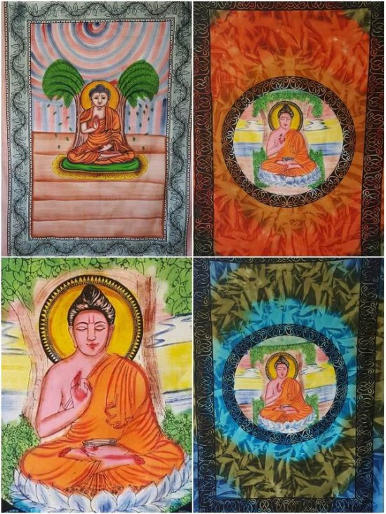 Buddha - Harmony - Wall Hanging-Tapestry-Throw-Bed Sheet  - 100% Cotton -Tie Dye - Fair Trade