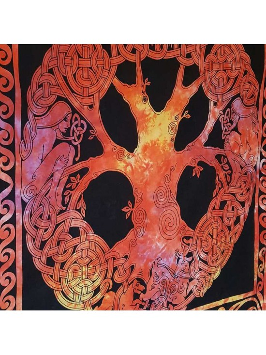 Celtic-Tree of Life-Tapestry-Wall Hanging-Throw-Bed Sheet-Fair Trade-100% cotton-Tapestries