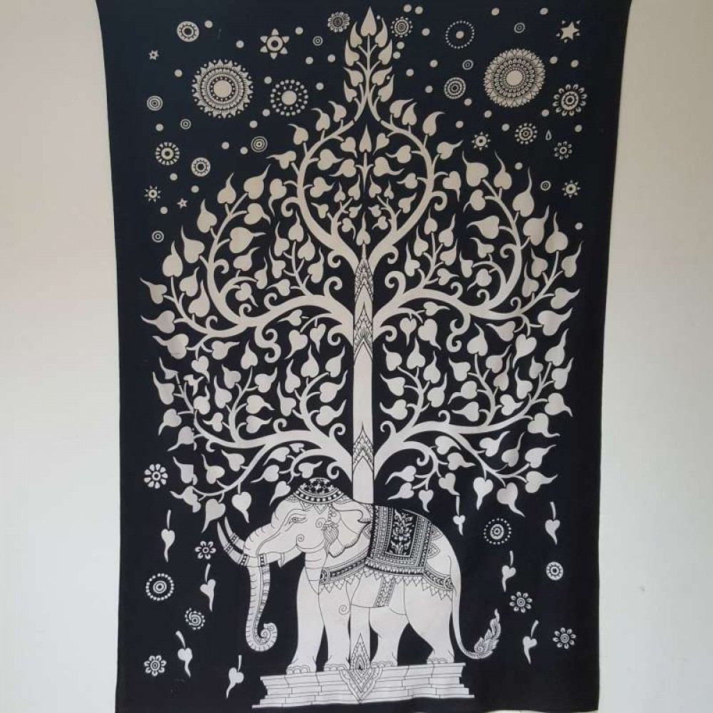 Elephant Wall Hanging black white - tree of life/elephant - wall hanging-tapestry-throw
