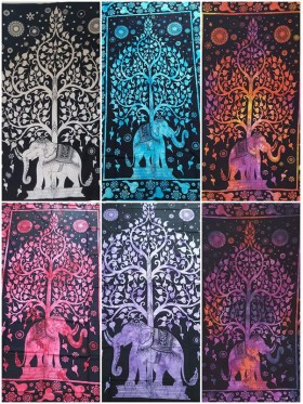 Tree of Life-Elephant-Wall Hanging-Tapestry-Throw-100% cotton-Tapestries-Tie-dye-Fair-Trade