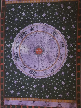 Zodiac-Horoscope-Purple-Black-100% cotton-Wall Hanging-Tapestry-Throw-Bed sheet-Tapestries-Fair Trade