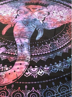 Elephant Mandala-Wall Hanging-Tapestry-Throw-Bed Sheet-100% Cotton-Tie Dye-Fair Trade