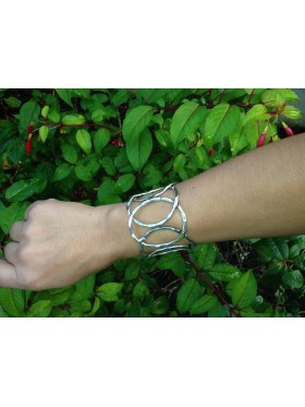 Ring Cuff - Silver hammer effect