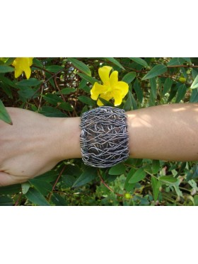 Wire Cuff - Antique Silver (L)