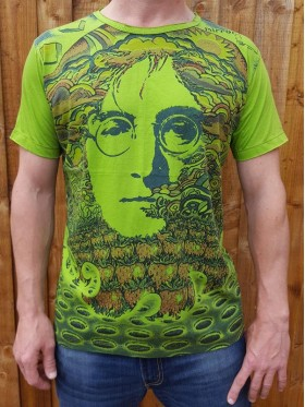 John Lennon - 70s - Mirror - T Shirt  - White - Green - 100% cotton