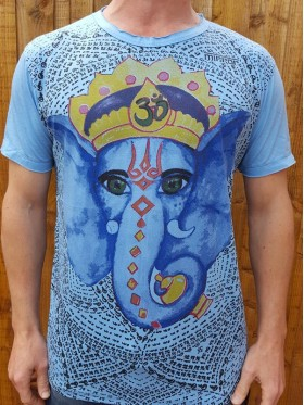 Ganesha - Mirror - T-Shirt - White - blue - 100% cotton