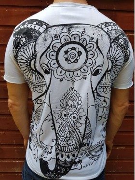 Elephant  - Mirror - T Shirt  - White - 100% cotton - Medium
