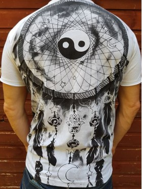Dream Catcher - ying - yang - Mirror - T Shirt  - White - 100% cotton - Medium -SALE