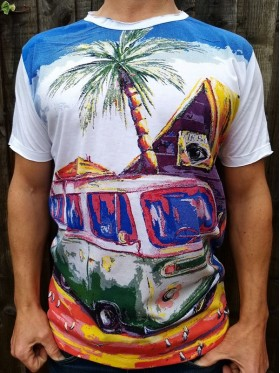 Camper - Holidays - Mirror - T-Shirt  - White  - 100% cotton