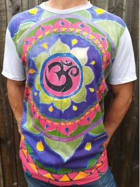Om - Mandala - Mirror - T Shirt  - White - 100% cotton - Medium