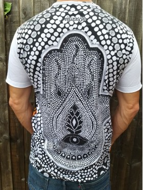 Hand Of Fatima - Hamsa - Mosiac  - Mirror - T Shirt  - White - 100% cotton - Medium