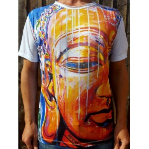 Buddha Painting  - Mirror - T-Shirt  - White