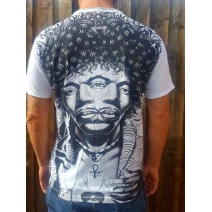 Jimi Hendrix 3 eyes  - Mirror - T-Shirt  - White