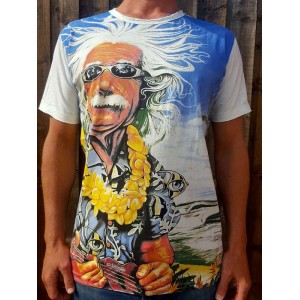 Einstein playing the Ukulele   - Mirror - T-Shirt  - White