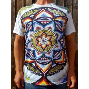 Lotus Mandala  - Mirror - T-Shirt  - White