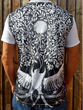 Tree of Life - Bear  - Mirror - T-Shirt - White - 100% cotton