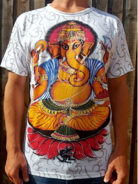 Ganesh & the mouse  - Mirror - T-Shirt  - White - 100% cotton