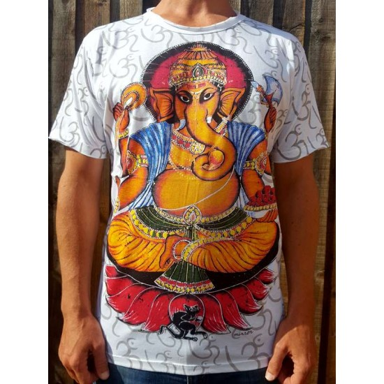 Ganesh & the Mouse  - Mirror - T-Shirt  - White