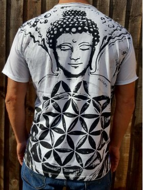 Buddha - Flower of Life  - Mirror - T-Shirt  - White - 100% cotton