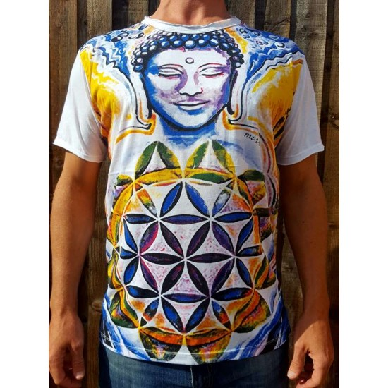 Buddha Flower of Life  - Mirror - T-Shirt  - White